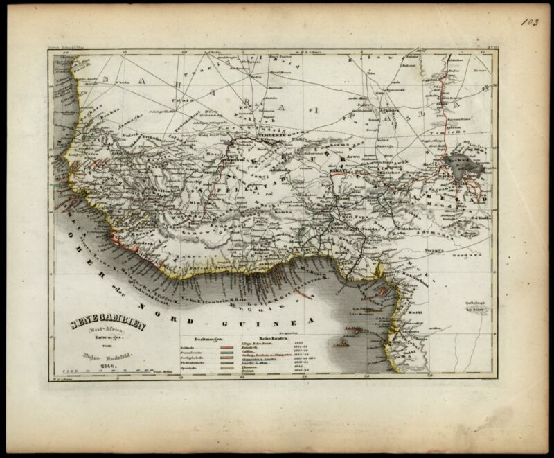 West Africa Guinea Timbuktu Sene-Gambia Colonial powers 1852 Meyer map detailed
