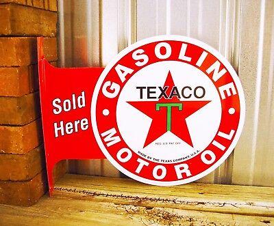 Texaco Motor Oil Sold Flange Metal Tin Sign Large Vintage Style Garage Man Cave