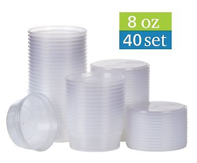 Tashibox  8 Oz Plastic Food Storage Containers With Lids   40 Sets   New