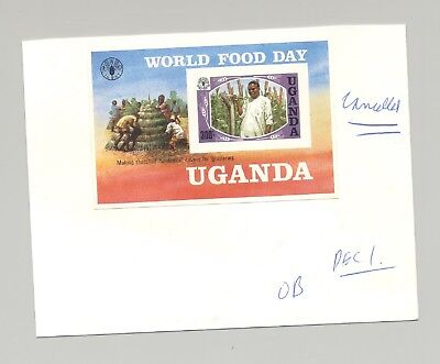 Uganda 1984 World Food Day, UN 1v S/S Unissued Imperf Proof on Card with Notes