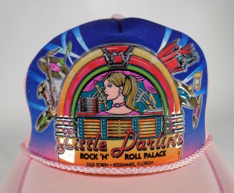 Little Darlins Hat Cap Rock N Roll Palace 1950s Jukebox Record Trucker Pink Vtg