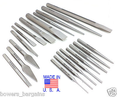 Wilde Tool 20pc Master Mechanic Punch & Chisel Set MADE IN USA Vinyl Roll Case