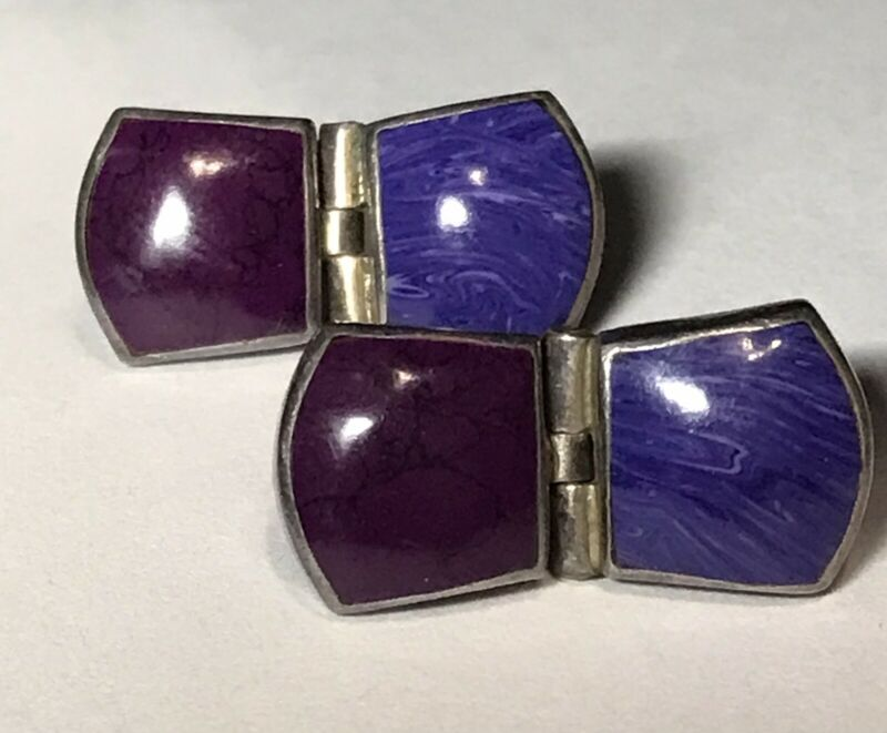 """PURPLE CHAROITE & AGATE Sterling Silver 925 Stone Earrings 1"""" Height"""