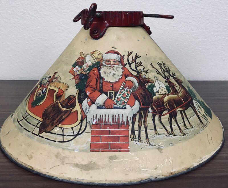 Vintage Noma 1930's RARE CHRISTMAS METAL TREE STAND SANTA, SLEIGH AND REINDEER