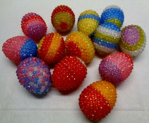 13 Vintage Easter Handmade Decorated EGG Pin & Sequin Ornaments