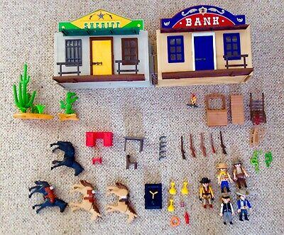 Playmobil cowboys bundle, Sheriff's jail, Bank, lots of figures, weapons, horses