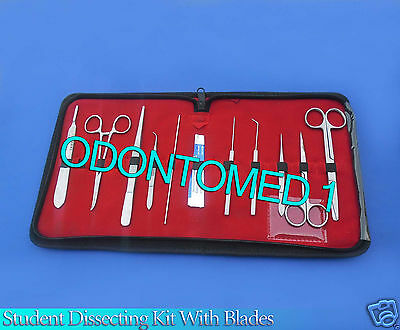 10 Pc Student Dissecting Dissection Medical Lab Instruments Kit Set5 Blades 24