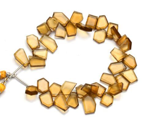 """Natural Gem Honey Quartz Faceted Slice Shape Beads 8"""" 91Cts. Jewelry Making"""