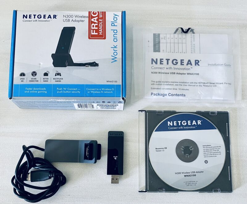 Fully Functional NetGear WNA3100 Wireless N300 Wifi USB Adapter With CD & Box