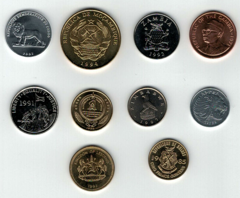 Africa Coin Mix - 10 Coins from 10 Countries - All UNC