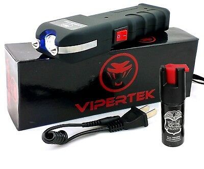 VIPERTEK VTS-989 - 58 BV Rechargeable LED Police Stun Gun + Free Pepper Spray