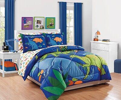 Fancy Linen 7pc Boys Full Comforter Set Dinosaurs Blue Green Orange New ()