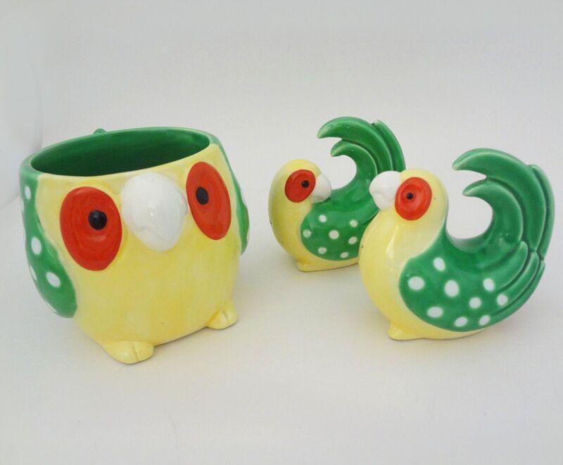 Vintage Owl Mug Set with Salt Pepper Parrots Fitz and Floyd Retro Yellow Green
