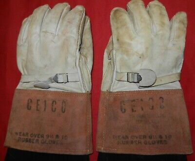 White Rubber Co.leather High Voltage Electric Wire Handling Gloves Sz 10 Used