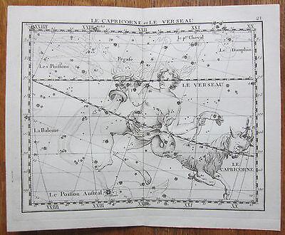 Flamsteed Astronomy Original Celestial Map Capricorn Aquarius - 1776