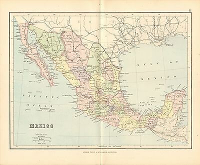 1887 ANTIQUE MAP- MEXICO