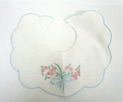 Vintage Embroidered Baby Bib Linen Scalloped Edge Cross Stitch Heirloom Floral