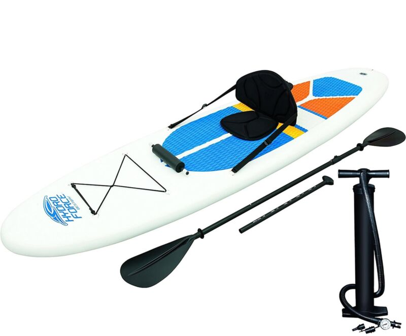 Bestway Hydro-Force 10 Foot Inflatable Stand Up Paddle Board SUP & Kayak, White