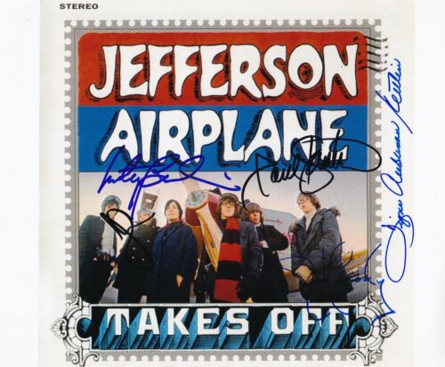 Jefferson Airplane signed photo Signe, Jorma, Paul Kantner, Marty Jack Proof