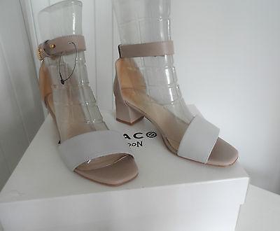 KAT MACONIE Phoebe Leather Nude & Grey Block Heel Sandals in UK Size 5 - 6  BNIB