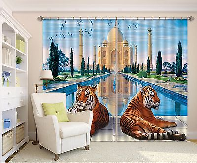 3D Tigers Blockout Photo Curtain Print Curtains Drapes Fabric Window (Tigers Drapes)