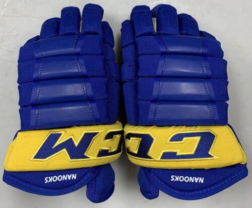 "Pro stock CCM HG97 hockey gloves 13"" Alaska Nanooks Royal Blue Yellow 4roll SR"