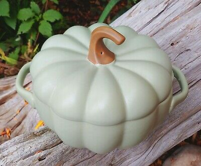 Vintage Ceramic Pumpkin Casserole Dish Sage Green Halloween Thanksgiving Gourd