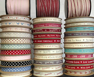 LARGEST-SELECTION-EAST-OF-INDIA-RIBBON-1-METRE-DOTS-HEARTS-GINGHAM-STRIPES