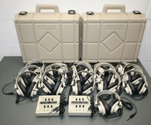 (2) Califone 1216AV-PY Listening Center w/ (16) 2924AV Headphones & (2) Cases