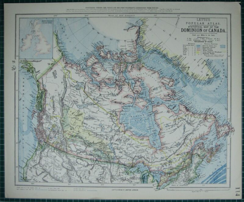 1883 LETTS MAP ~ DOMINION OF CANADA NEWFOUNDLAND NOVA SCOTIA BRITISH COLUMBIA