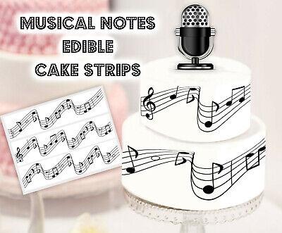 - Music notes Edible Image Cake Strips Cake Topper Rock Disco Karaoke Party