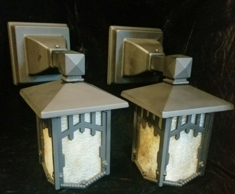 Antique Arts & Crafts Cast Iron Porch Light sconce Herwig slag vintage. Pair