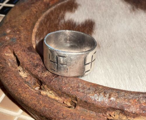 Heavy, Ingot, Whirling Log, Early 1900s, Size ~9.25 - Rare Ring - Navajo - Cool!