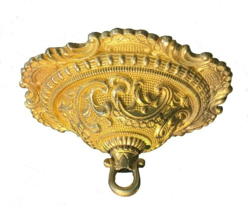 "NEW 5-1/2"" SOLID UNF CAST BRASS FANCY ORNATE CEILING CANOPY & LOOP & Hardware"