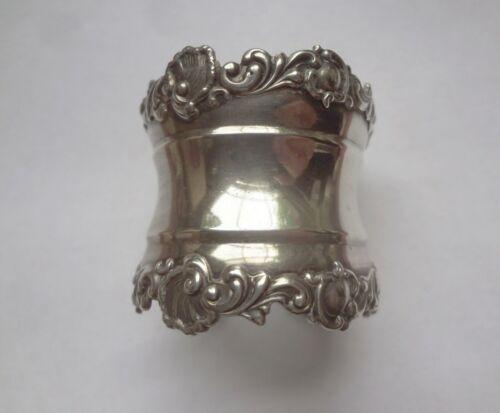 c1896-8 WATROUS #42 STERLING SILVER ornate NAPKIN RING - OLD TRADEMARK - MONO HP