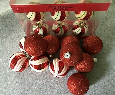 Plastic Ball Ornaments Bulk (17 Peppermint Swirl Glitter Christmas Glass Plastic Ball Ornaments Red White)