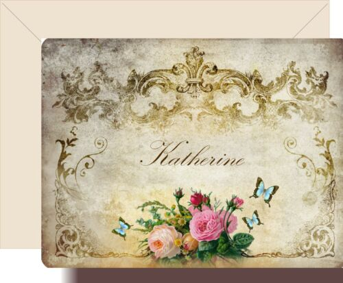 Personalized Note Cards Stationery Set of 8 Victorian Elegance Cottage Roses