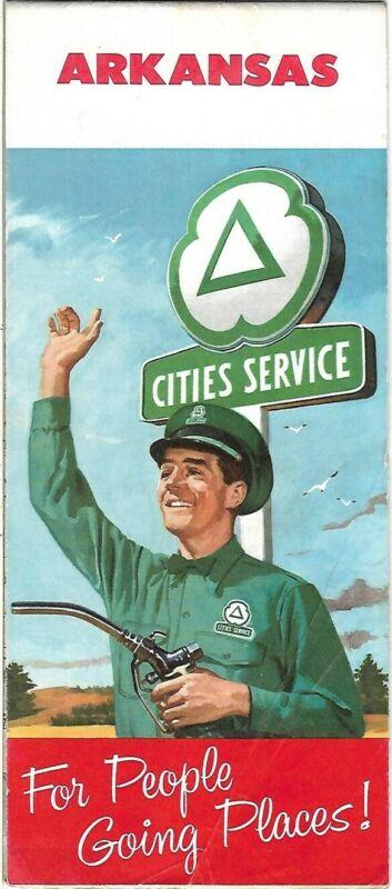 1958 CITIES SERVICE Road Map ARKANSAS Fort Smith Texarkana Little Rock Memphis