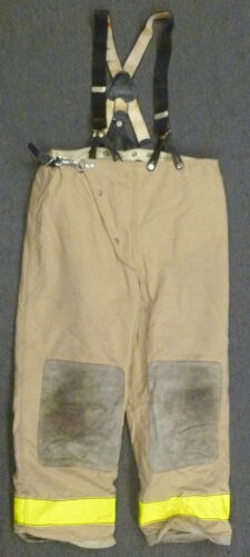 42x30 Globe Tan & Yellow Firefighter Turnout Bunker Pants With Suspenders P955
