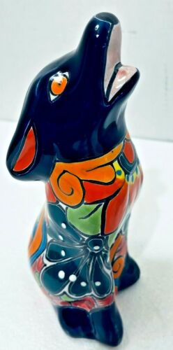 "Mexican Talavera Pottery Animal Howling Coyote Dog Figure Ceramic Folk Art 9"""