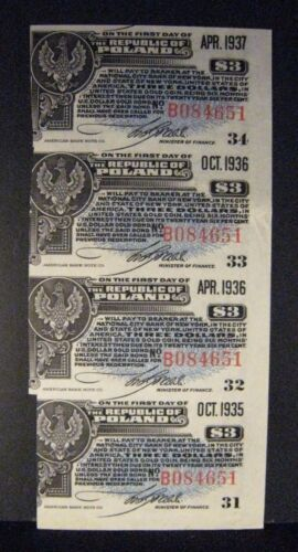 1935-1936 Poland, Republic of, $3 Bond Interest Coupons ** FREE U.S. SHIPPING **