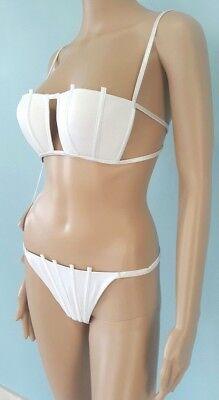 b43e9b7348d7d NWT $521 La Perla Bikini Swimsuit White Graphique Couture Two Pieces Set  Size 10