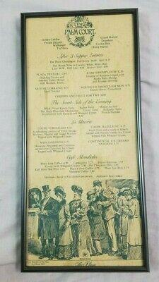 1980's Palm Court Westin Hotels The Plaza Restaurant Menu Framed Rare TRUMP (Frame Nyc Menu)