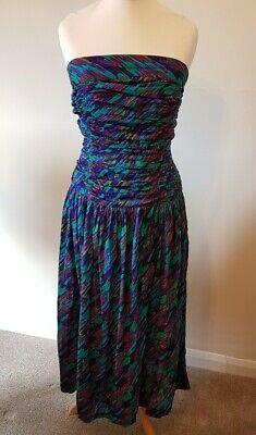 Vintage ANOKHI Indian Cotton Floaty Strapless Summer Hippy Dress Size 10