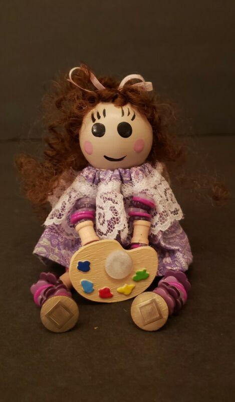 Button Baby Handmade Thread Spool & Button Doll Shelf Sitter 2010 Brunette