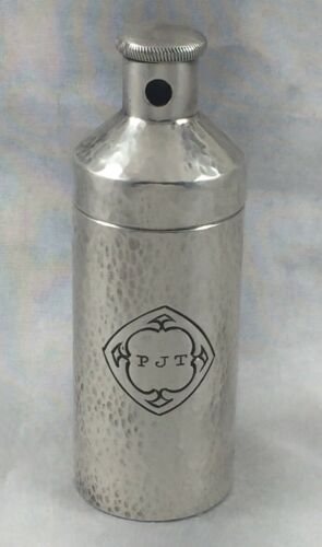 """Hammered Wallace Sterling Flask - 3 1/2""""Mono PJT w/Twist Top"""