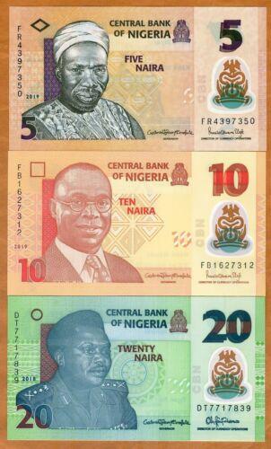 SET Nigeria, 5;10;20 naira, 2018-2019, P-New, POLYMER, UNC