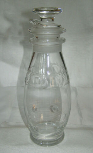 VINTAGE HEISEY GLASS CO. CLEAR CRYSTAL COCKTAIL SHAKER + ORIGINAL STRAINER & TOP