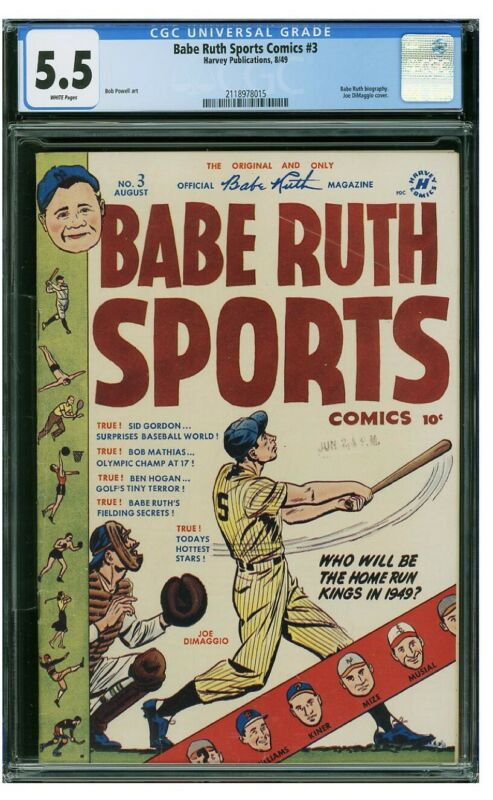 1950 Babe Ruth Sports Comic #3 CGC 5.5 Joe DiMaggio Cover Harvey Publication HOF