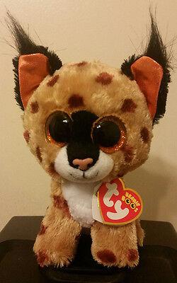 "Ty Beanie Boos ~ BUCKWHEAT the 6"" Lynx Stuffed Plush Toy (Brand New) 2015 Design"